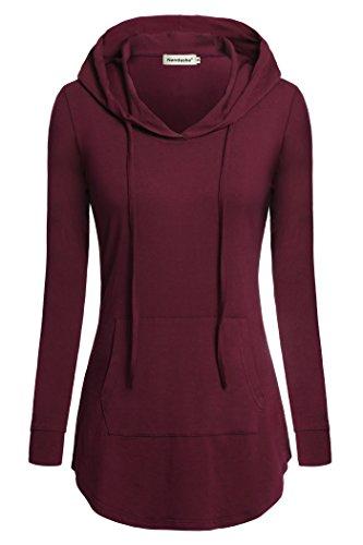 Hooded Tunic Pants - Nandashe Women Shirts, Comfy Plus Size Clothing Loose Fit V-Neck Hoodies Wine XXL
