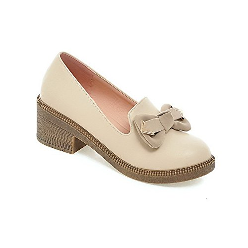 WeiPoot Womens Soft Material Pull-On Round Closed Toe Kitten-Heels Solid Loafer-Flats Beige H9PbIL0al8