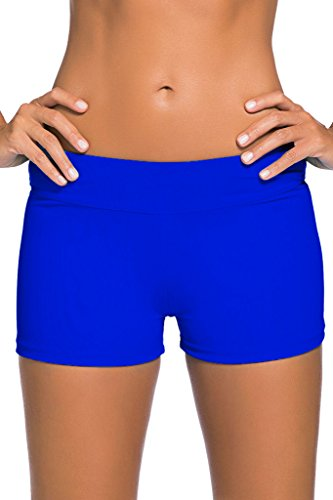 Dokotoo Women's Wide Waistband Swimsuit Bottom Mini Shorts,Deep Blue, Size: US 12-14=Waist 31 inch, Tag Size:Large
