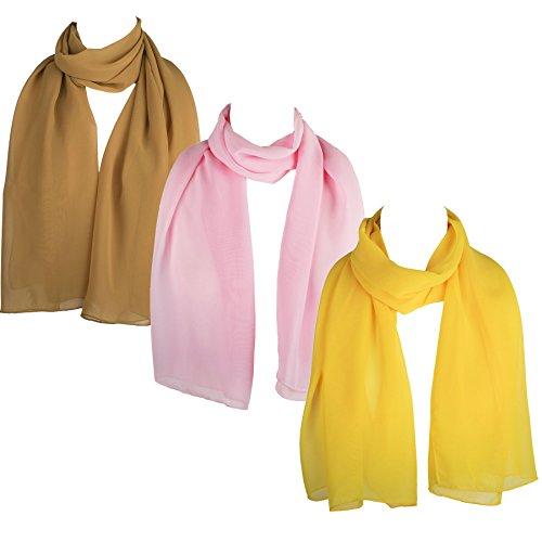 HatToSocks Chiffon Scarf Sheer Wrap for Women Pack of 3 (Mustard, Pink, Yellow)