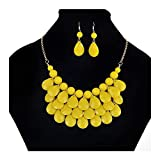 palettei Fashion Floating Bubble Necklace & Earrings Set - Teardrop Bib Collar Statement Jewelry for Women (Yellow)