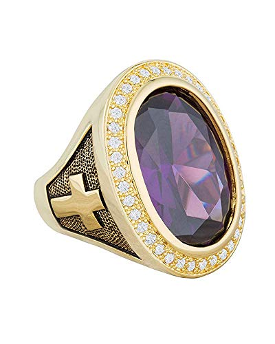 14k Purple Cross - HKN1682 Designs Purple Amethyst Cubic Zirconia 14k Gold Plated Bishop Cross and Midre Ring (08)
