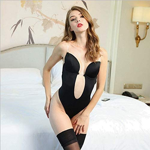 bed5114051b9e HITSAN INCORPORATION Multiple Cups Women Clear Strap Backless DEEP Plunge  Thong Push UP Padded Bra Body Shaper Suit Convertible Seamless Low Back  Color ...