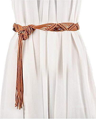 Bohemia Womens' Woven Belt Wax Rope Dress Decorative Tassel Belts]()