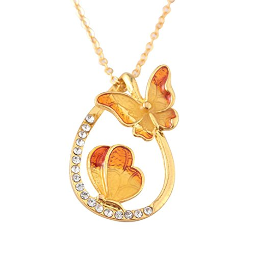 Elegant Necklaces,RTYou Women Colourful Butterfly Diamond Pendant Necklace Water Drop Shaped Clavicle Chain (Orange)