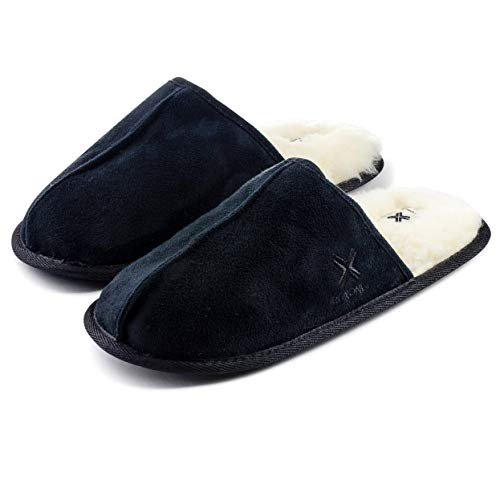 Roxoni Mens Suede Look Sheepskin Lined Slippers; Ideal Winter Scuff House Shoes for Indoor and Outdoor