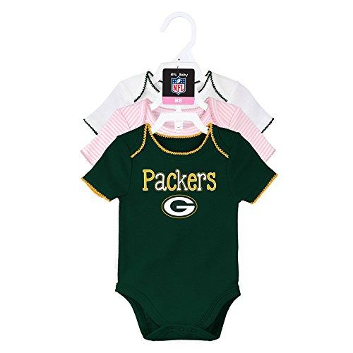 OuterStuff NFL Newborn Third Quarter 3 Piece Onesie Set, Green Bay Packers, Hunter/White/Pink, 6 - Bay Packers 3 Piece Green