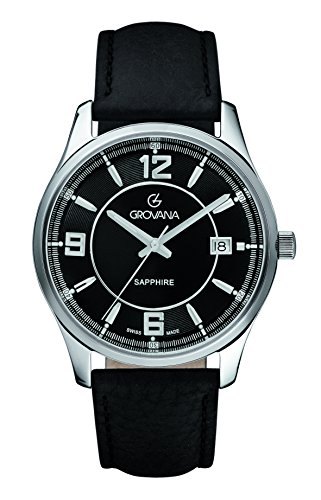 Grovana Men's 1215-1537 Traditional Analog Display Swiss Quartz Black Watch