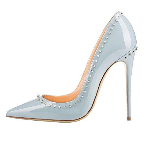 AIWEIYi Womens Pointed toe Rivets Stilettos High Heel Dress Pump Blue