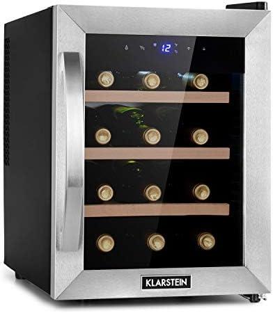 Klarstein Reserva Uno nevera para vinos, 31 litros / 12 botellas, temperatura: 11-18 °C, ruido: 26 dB, 3 baldas, luces LED, protección UV, nevera independiente, plateado[Clase de eficiencia energética G]
