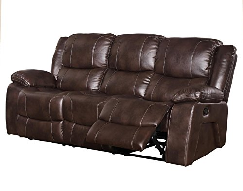 Kane Dual Power Motion Recliner Sofa in Premier Brown