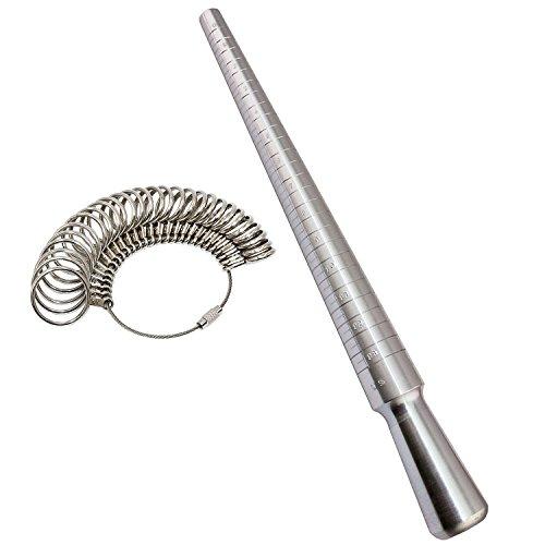 PHYHOO Metal Steel Ring Sizer Set Mandrel Gauge Finger Size Measure Rings Sizing Measurement Tool Jewelry Making Tools Jewelers Loop US 0-13 (Tools Making Ring)