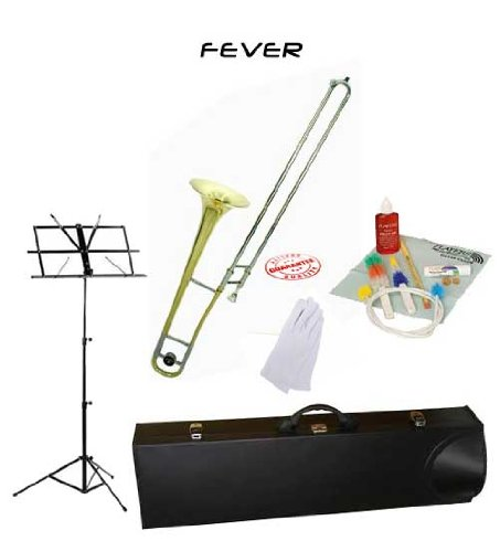 Fever Student Slide Gold Lacquer B Flat Trombone School Package with Case Music Stand and Cleaning Kit FEV-ST-PACK