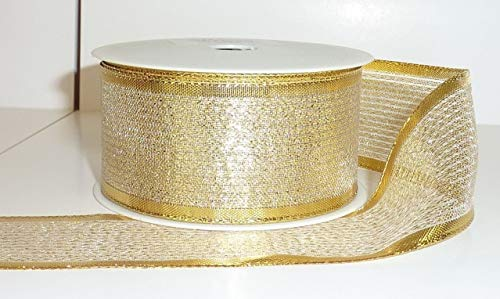 40mm Premium Double Side Golden Shine Wire Edged Ribbon for Christmas