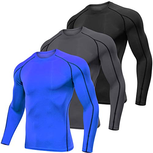 Lavento Men's Compression Shirts Long-Sleeve Dri Fit Workout Undershirts (Medium,3 Pack-1059 Black/Gray/Blue)