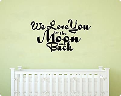 """40"""" We Love You To the Moon and Back Nursery Baby Son Daughter Saying Wall Decal Sticker Art Mural Home Décor Quote"""