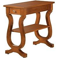 Furniture of America Freesia Bell Shape Side Table, Antique Oak