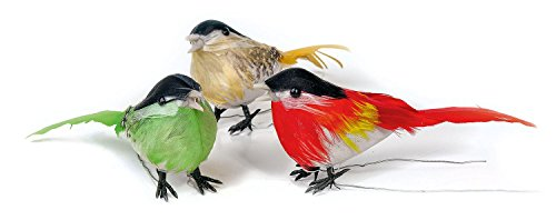 3er-Set VBS Vogel ca. 9x5cm Kunstvogel bunt Gesteck Kranz Vögel Dekovögel