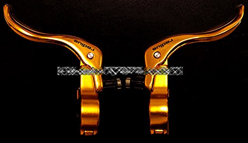 Radius Made in Taiwan Forged Aluminum Alloy Brake Lever Set - Anodized Gold, for Fixie Fixed Gear Road Bike Bicycles Caliper Brakes (Bicycle Gold Brake Levers)