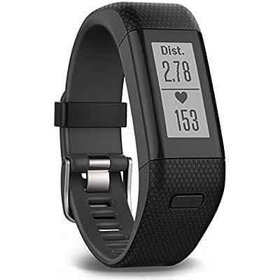 Garmin vivosmart HR+ Activity Tracker Smart Watch with Wrist-Based HRM Plus GPS, XL, Black - (Certified Refurbished)