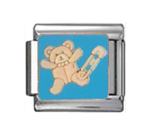 (Stylysh Charms Teddy Bear Nappy PIN Baby BOY Blue Enamel Italian 9mm Link NC245)