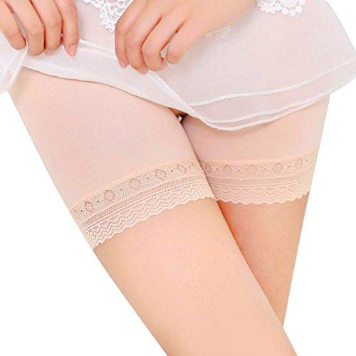 ManxiVoo Women's Safety Pants Underwear Boyshort Lace Tiered Skirts Shorts Lace Briefs (M, Khaki) (Short Alluring)