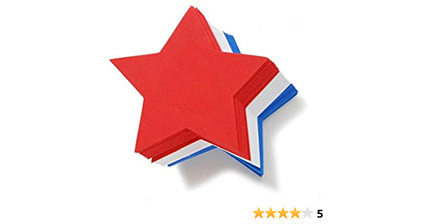 36 Pack White Large Foam Stars Red and Blue