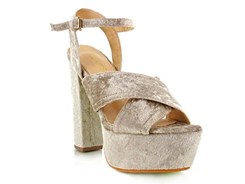 Womens Ladies Party Dress up Velvet Criss Cross Block Heel Platform Open Toe Sandal Beige Velvet 3MsitO