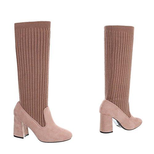 Schuhcity24 Damen Schuhe Stiefel Moderne Altrosa