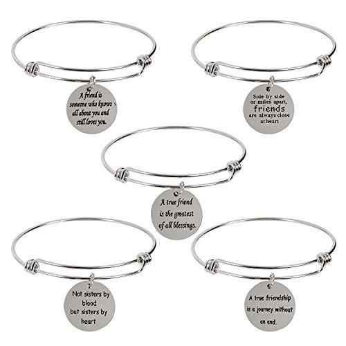 AleapDoll 5-Pack Stainless Steel Best Friend BFF Charm Bangle Bracelets Friendship Gifts for Friend Women Female Girls Birthday Graduation Inspirational Gift