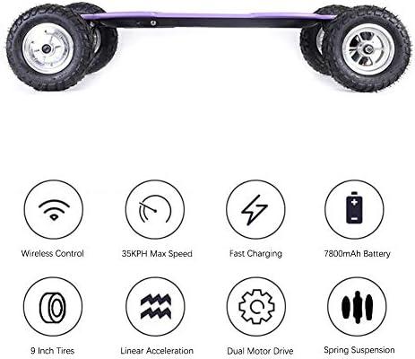 XLY Skateboard Électrique, 46 Pouce Longboard Électrique avec Vitesse Maximale de 35km/h et Roues Hors Route de 23cm, Tout Terrain Mountainboard pour Adulte Jeune