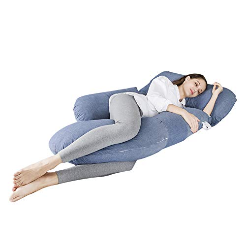 Three First Full Body Multifunctional Maternity Pillow with Washable Cotton Pillowcase Cover – G Shaped Pillow/ 100% EPE Cotton Filling