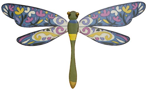 25 Home Decor 15 Inch Printed Metal Dragonfly Wall Plaque (Green) ()