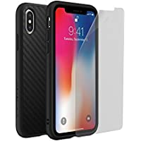 RhinoShield SolidSuit Impact Protection Screen Protector Shock Absorbent Slim Design Case for iPhone X (Carbon Fiber)