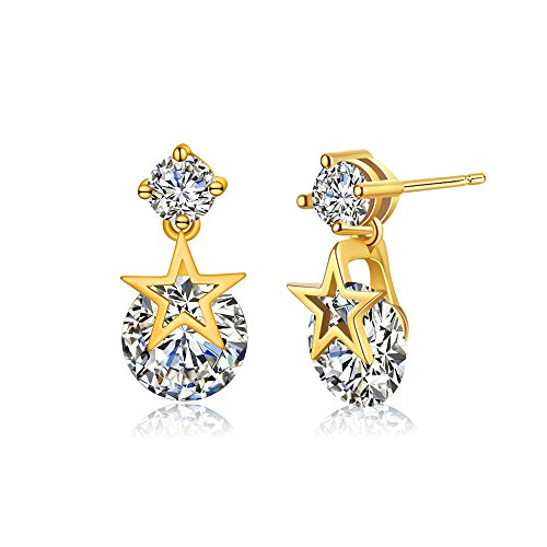 Pool Clean Clear Filters - Winter's Secret Double Diamond Studded Style Five Star Pendant Dangle Gold Color Earring