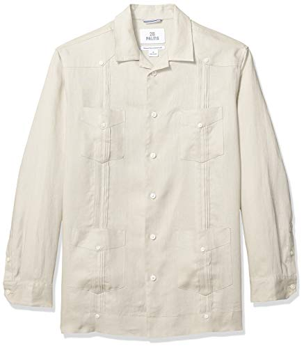 28 Palms Men's Relaxed-Fit Long-Sleeve 100% Linen 4-Pocket Pleated Guayabera Shirt, Natural, ()