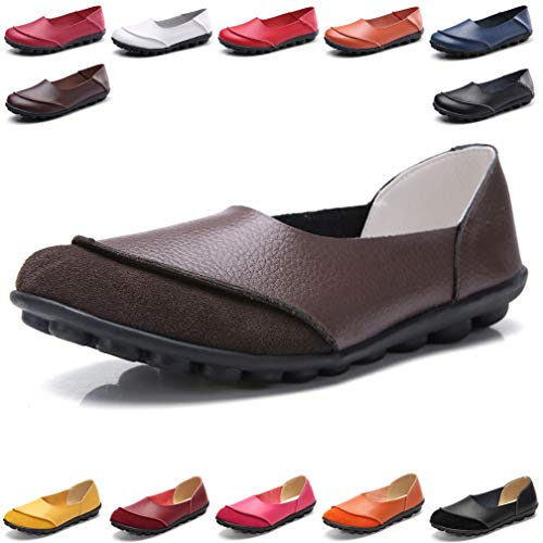 Hishoes Women's Leather Loafers & Slip-Ons Flats