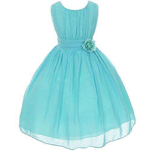Big Girls Adorable Ruched Round Neck Yoryu Chiffon Flower Girl Dress Aqua - Size 12