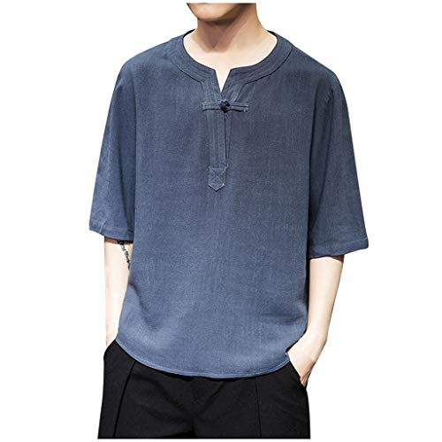 ANJUNIE Mens Long Sleeve Vintage Henley Shirt Cotton Linen Yoga Loose Fit Tops(1-Navy,M)