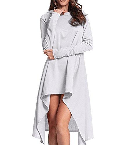 Hood Clothing White (Playworld Womens Irregular Hem Loose Long Sleeve Hooded Tunic Top Dress White-XXXL)