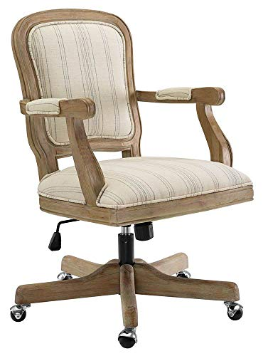 Maybell Stripes Office Chair in Antique Brown