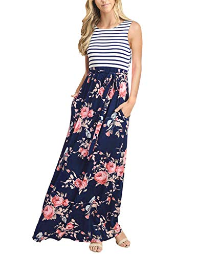 MEROKEETY Women's Striped Floral Print Sleeveless Tie Waist Maxi Dress with Pockets -