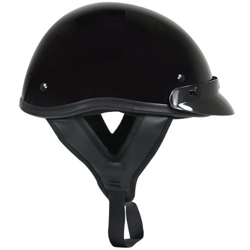 Outlaw T70 DOT Solid Glossy Black Half Helmet - X-Small by Outlaw