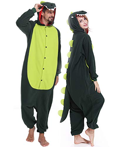 Dinosaur Onesies Adult Animal Pajamas Plus One Piece Cosplay Halloween Costume for Men Women Teens ()