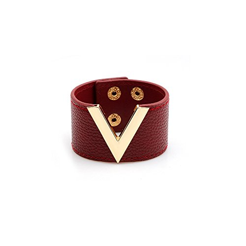 Red And Black Leather Bracelet - METTU Fashion Wide Leather v Word Trend Woman Bracelet Adjustable Glamour Cuff Bangle Jewelry (Red)