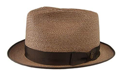 Stetson Inwood Brown Hemp Straw Hat Fedora Size 7 1/8 R Oval 1 3/4
