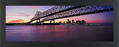 - Easy Art Prints Panoramic Images's 'Twins Bridge Over a River, Crescent City Connection Bridge, River Mississippi, New Orleans, Louisiana, USA' Framed Canvas Art - 30
