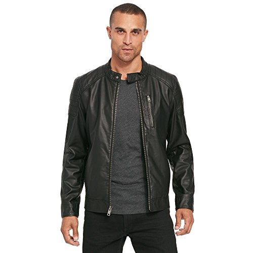 Black Rivet Mens Fauxleather Moto Jacket W/Quilted Shoulders 2XL (Black Rivet Leather Jacket)