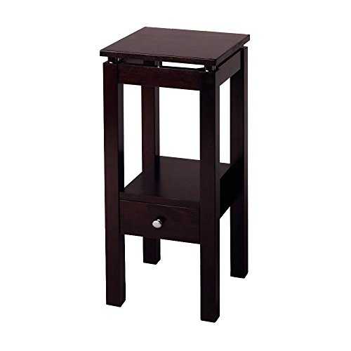 Espresso Console Table with Drawer and Shelf Storage Wooden Brown Tall Small Square Modern Hall Telephone Table eBook by Easy&FunDeals (Telephone With Drawer Tall Table)