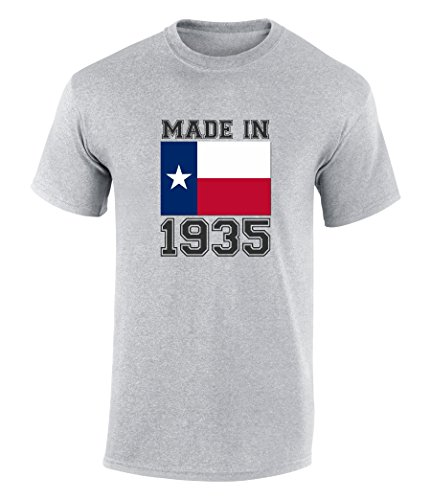 Happy 82nd Birthday Gift T-Shirt With Made In Texas 1935 Graphic Print Sport Grey - At Village Shops Highland